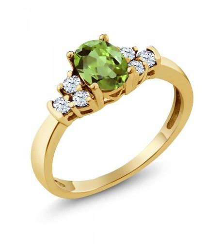 Green Peridot Yellow Plated Silver