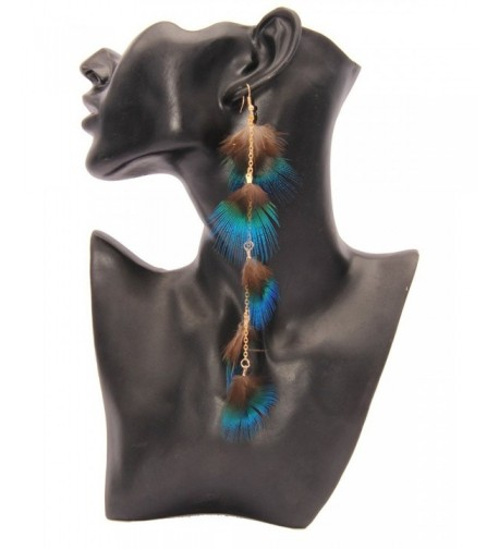 Soyagift Peacock Feather Earrings Eardrop