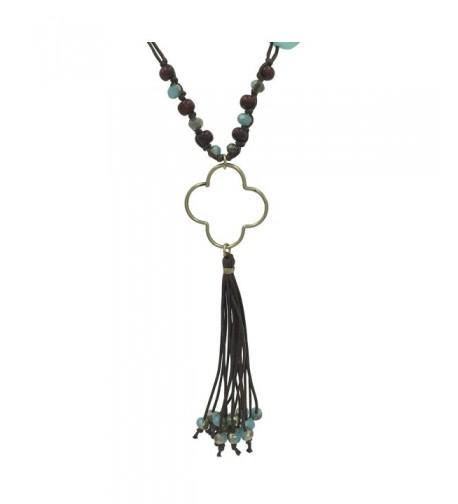 Tassel Fringe Silver Clover Necklace