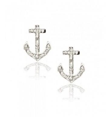 Silver Crystal Anchor Post Earrings