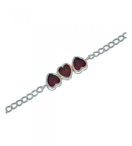 Garnet Bracelet Sterling Silver Rhodium