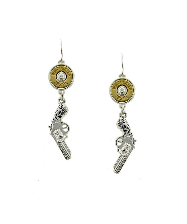 Antiqued Silver Revolver Pistol Earrings