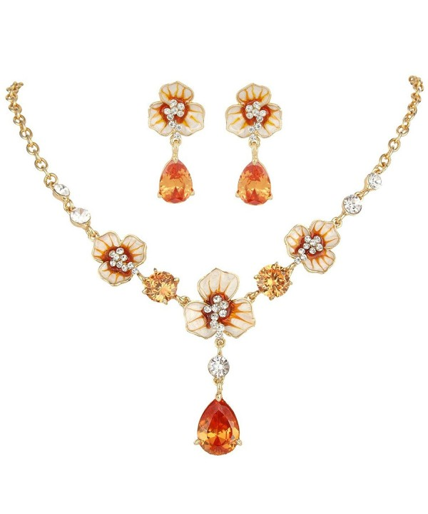 EVER FAITH Gold Tone Necklace Topaz Color