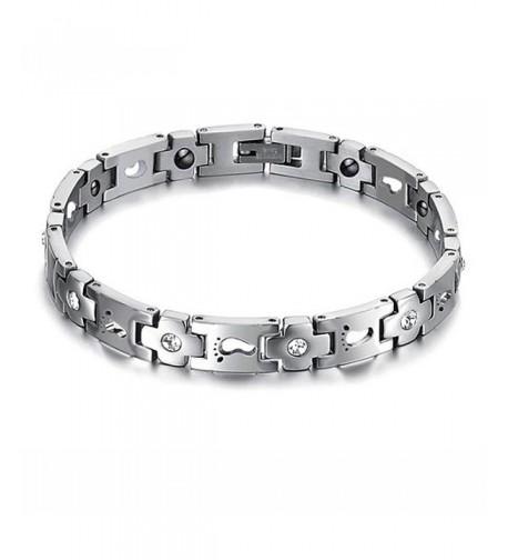 Titanium Footprints Magnetic Therapy Bracelet