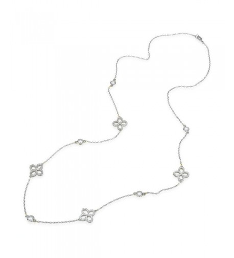 Flower Charm Strand Necklace Silver