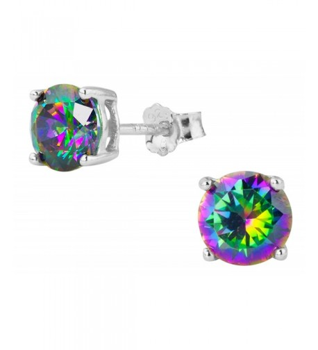 Sterling Silver Round Rainbow Earrings