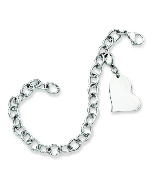 Stainless Steel Heart Charm Bracelet
