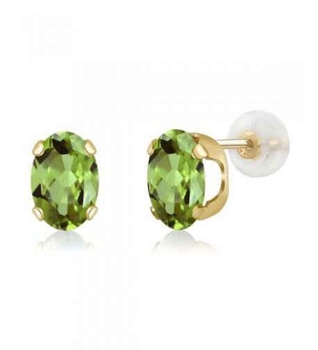 7x5mm Green Peridot Yellow Earrings