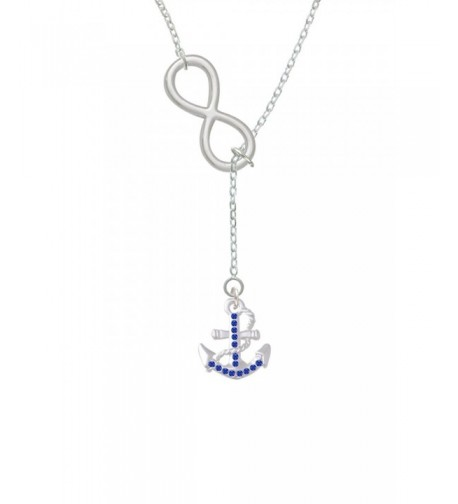 Silvertone Crystal Anchor Infinity Necklace