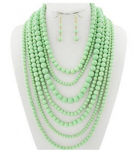 Statement Layered Strands Necklace Earrings