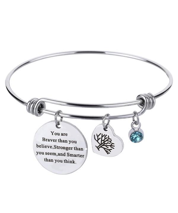 Birthstone Inspirational Expandable Bracelet Stainless