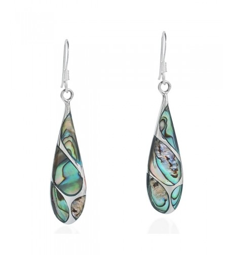 Vintage Abalone Teardrop Sterling Earrings