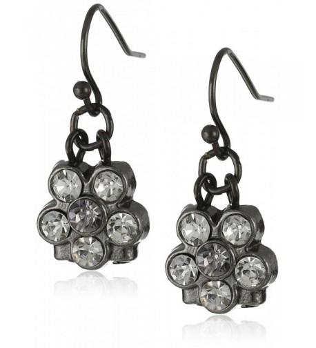 1928 Jewelry Black Tone Crystal Earrings