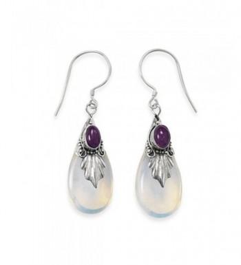 Amethyst Glass Sterling Silver Earrings