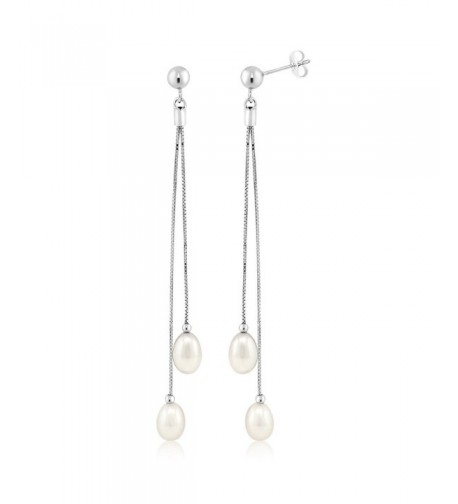 Womens Sterling Cultured Freshwater Earrings
