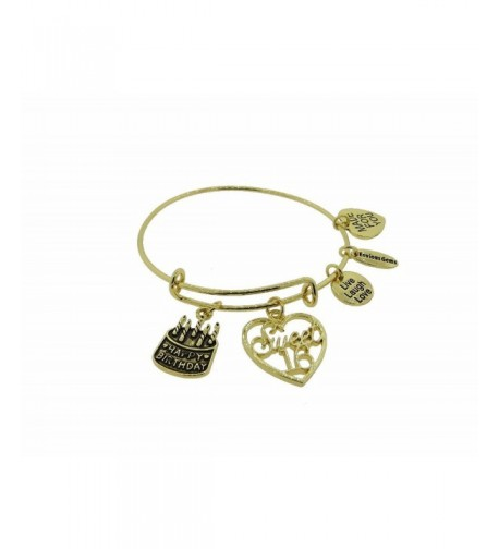 Happy Birthday Gold Tone Expandable Bracelet