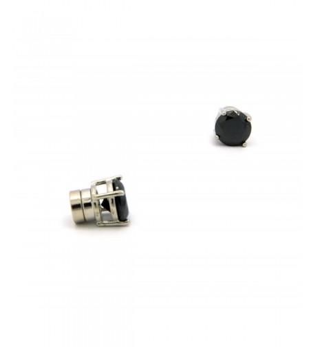 Zirconia Magnetic Earrings Silver Tone CZRM RBK5