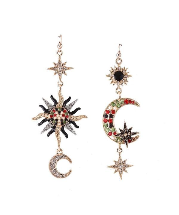 MengPa Vintage Crystal Earrings Asymmetrical