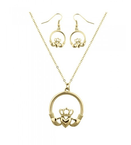 Lux Accessories Goldtone Claddagh Necklace