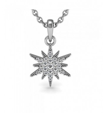 Sterling Diamond Starburst Pendant Necklace