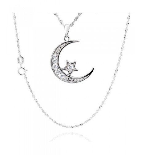 Sterling Zirconia Crescent Pendant Necklace
