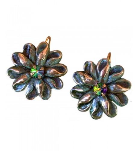 Victorian Zinnia Floral Earrings Swarovski