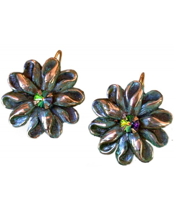 Victorian Zinnia Floral Earrings Swarovski