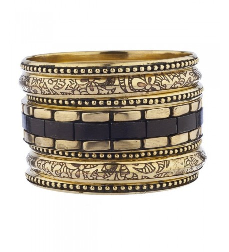 Lux Accessories Burnished Etched Bracelet