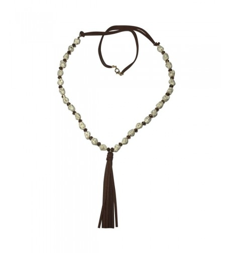 Leather Tassel Beaded Necklace Earring