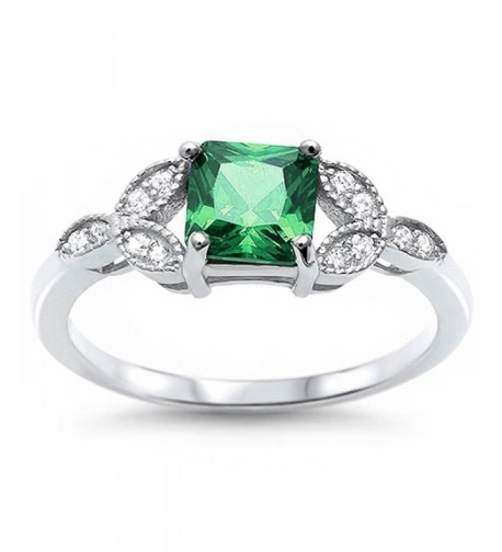 Princess Simulated Emerald Zirconia Sterling