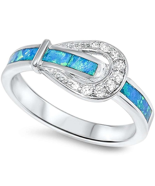 Blue Opal Flower .925 Sterling Silver Ring sizes 6-10