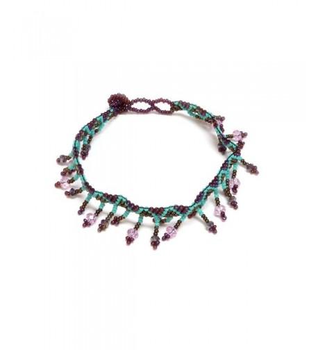 Crystal Fringe Anklet Burgundy Turquoise