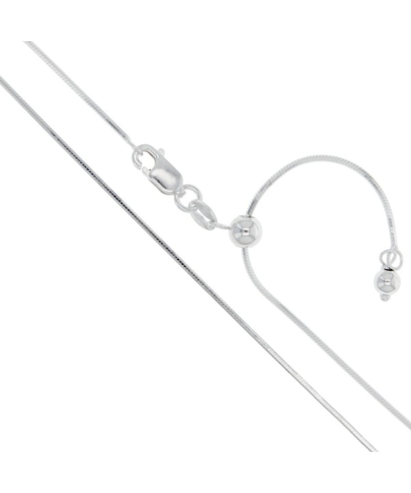 Sterling Silver Adjustable Sided Necklace