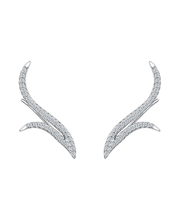 BriLove Sterling Wedding Crawler Earrings