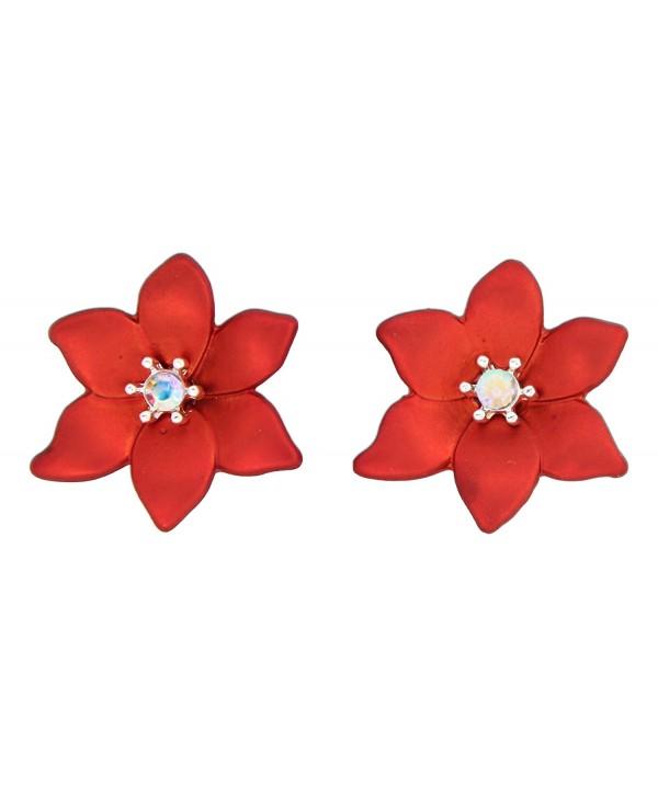 Periwinkle Poinsettia Iridescent Center Earrings