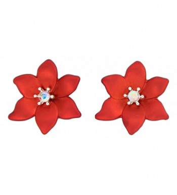 Periwinkle Poinsettia Iridescent Center Earrings