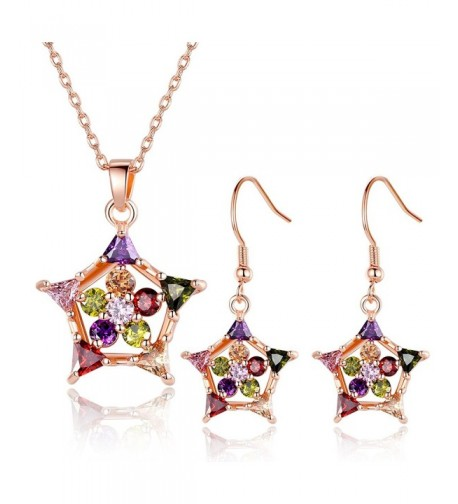 BISAER Fashion Zirconia Earring Necklace
