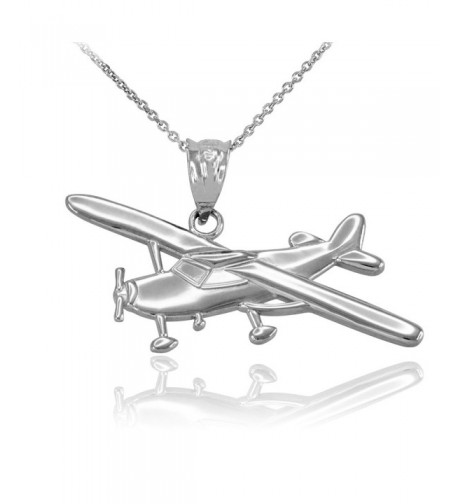 Polished Sterling Airplane Aircraft Necklace