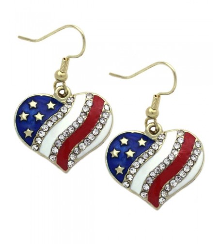 American Patriotic Earrings Jewelry Gold tone