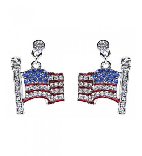Patriotic Jewelry American Rhinestone Earrings