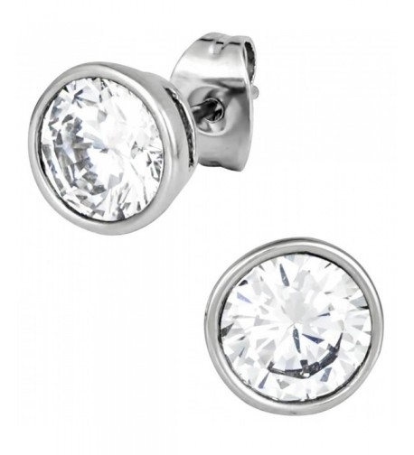 Stainless Steel Crystal Round Earrings