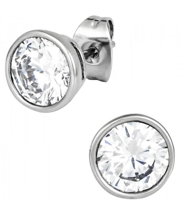 Stainless Steel Crystal Round Earrings