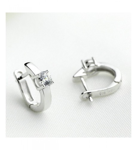 Huggie Hinged Earrings Solitaire Zirconia
