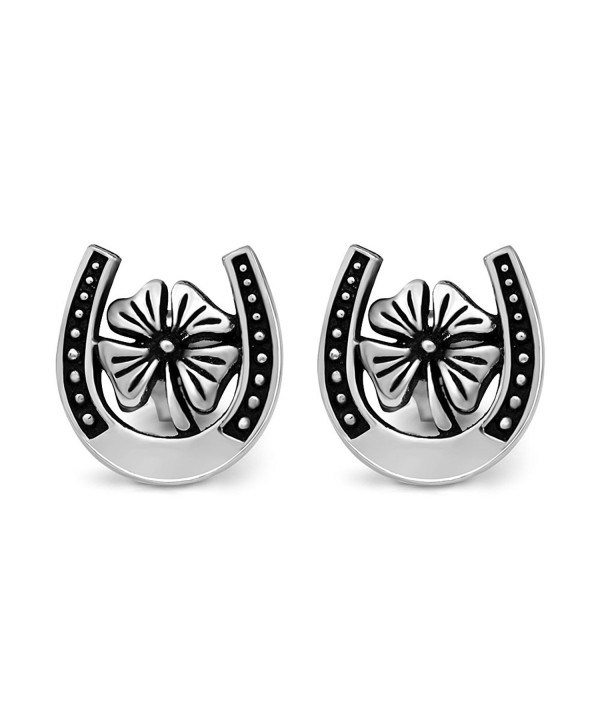 37afbb142 925 Sterling Silver 11 mm Lucky Horse shoe with Four Leaf Clover ...
