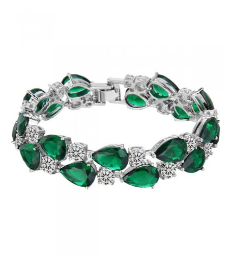 EVER FAITH Zirconia Emerald Color Silver Tone