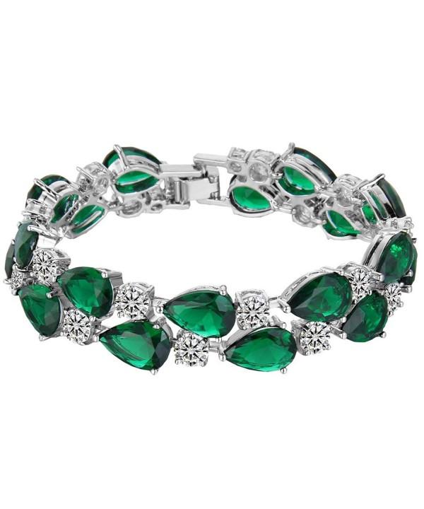 EVER FAITH Zirconia Emerald Color Silver Tone