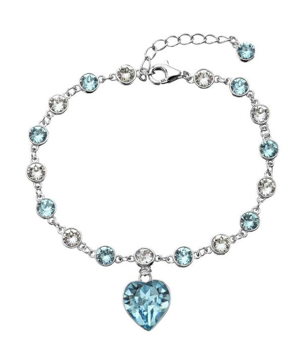 EleQueen Sterling Bracelet Aquamarine Swarovski