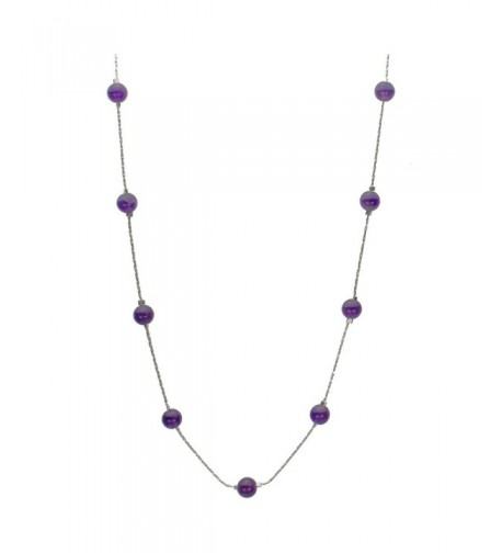 Amethyst Station Sterling Italian Necklace