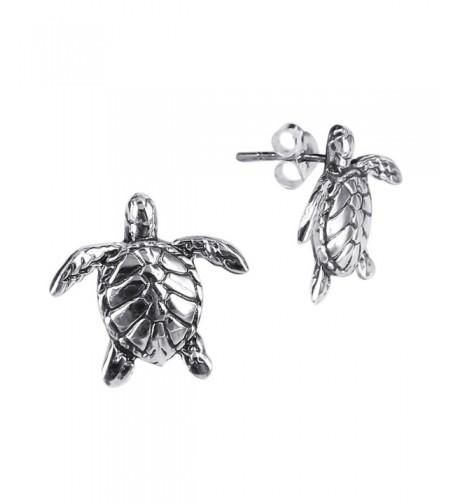 Textured Swimming Turtles Sterling Earrings