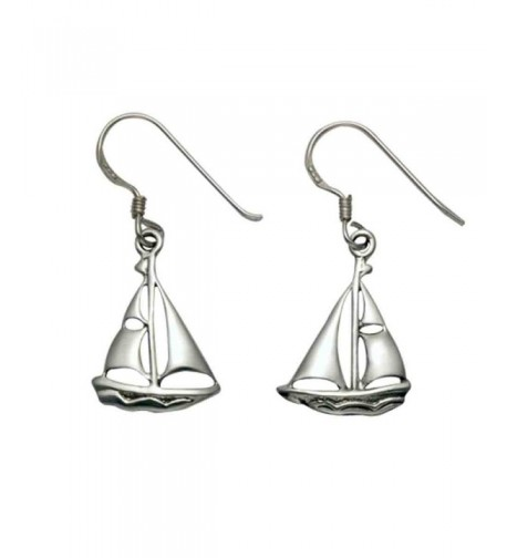 Sterling Silver Sailboat French Earrings